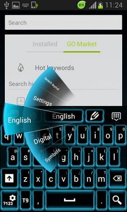 Neon Blue Galaxy Keyboard