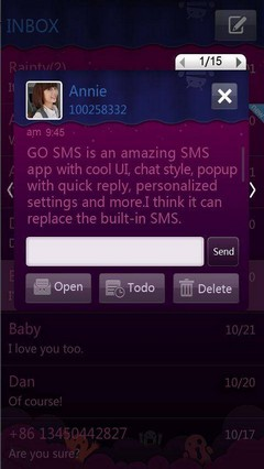 Purple GO SMS Theme 1.0
