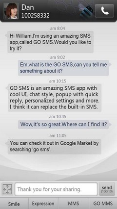 Simple Dark GO SMS Theme 1.0