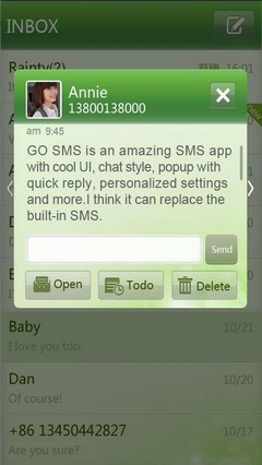 Simple Green GO SMS Theme 1.0