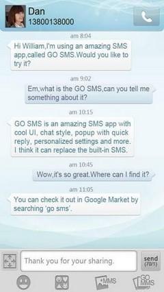 GO SMS Light Blue Theme