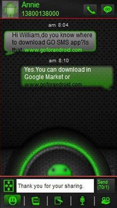 go sms green glow theme