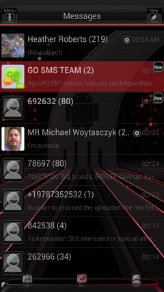 Red Nexus 7 GO SMS Theme