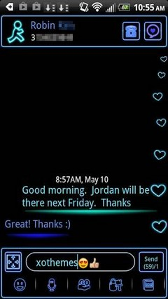 GO SMS Theme Blue Neon Hearts