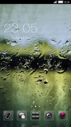 Wet Glass Clauncher Theme