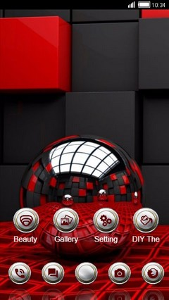 Red Metal Balls CLauncher Theme