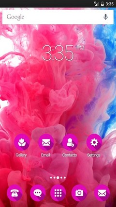 Pink smoke color GO Launcher Theme