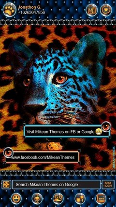 Leopard Gold Blue Theme GO SMS
