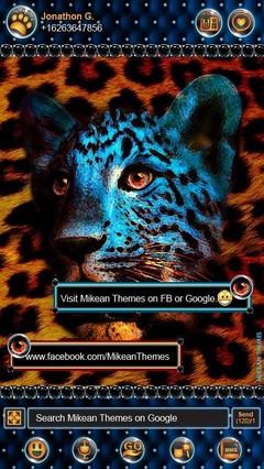 Leopard Gold Blue Theme GO SMS