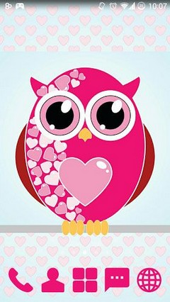 Pink Hearts Owls