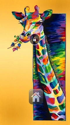 Colorful Giraffe Lock Screen
