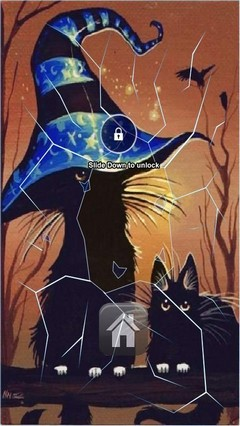 Black Halloween Cats Lock Screen