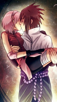 Sasuke and Sakura kissing