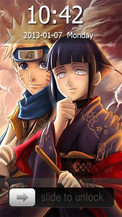 Naruto and Hinata Go Locker Theme for Android Phone