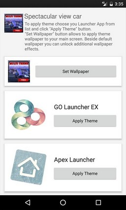 Spectacular view car ADW Launcher Theme