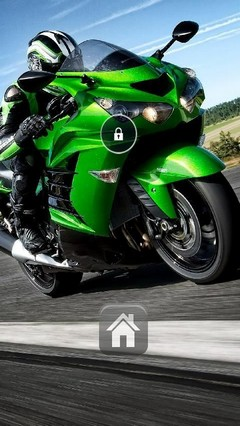 Green Motobike Lock Screen Theme