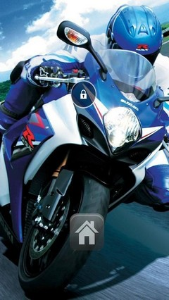 Blue Motorbike Lock Screen Theme