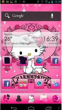 Pink Kitty Go Launcher Theme