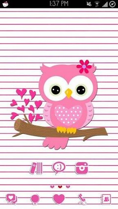 Go Launcher Hoot Pink Valentine Theme