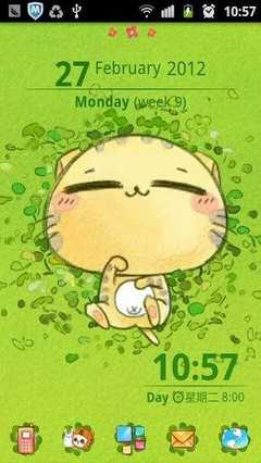Go Launcher Green Cat