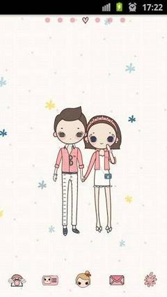 Cute Couple Girl Go Launcher Theme