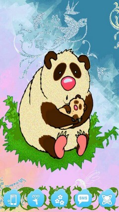 Cute Panda Mom and Baby Launcher Theme