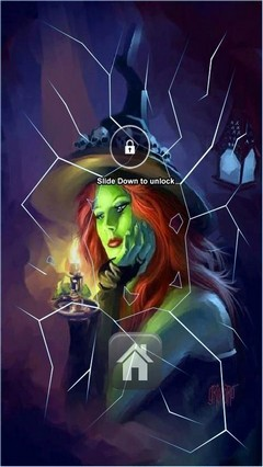 Cute Green Witch Lock screen
