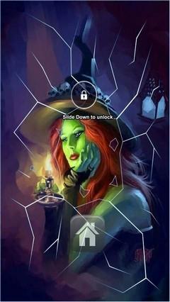 Cute Green Witch Lock screen