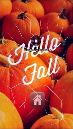 Hello Fall Pumpkins Lock Screen
