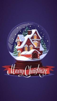 Merry Christmas Snow Globe Lock Screen