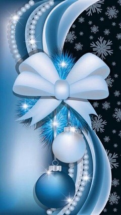 White And Blue Ornaments Lock Screen