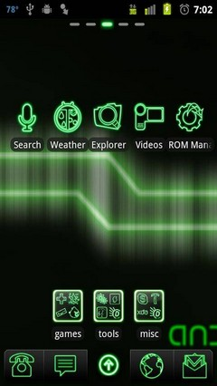 green neon go launcher