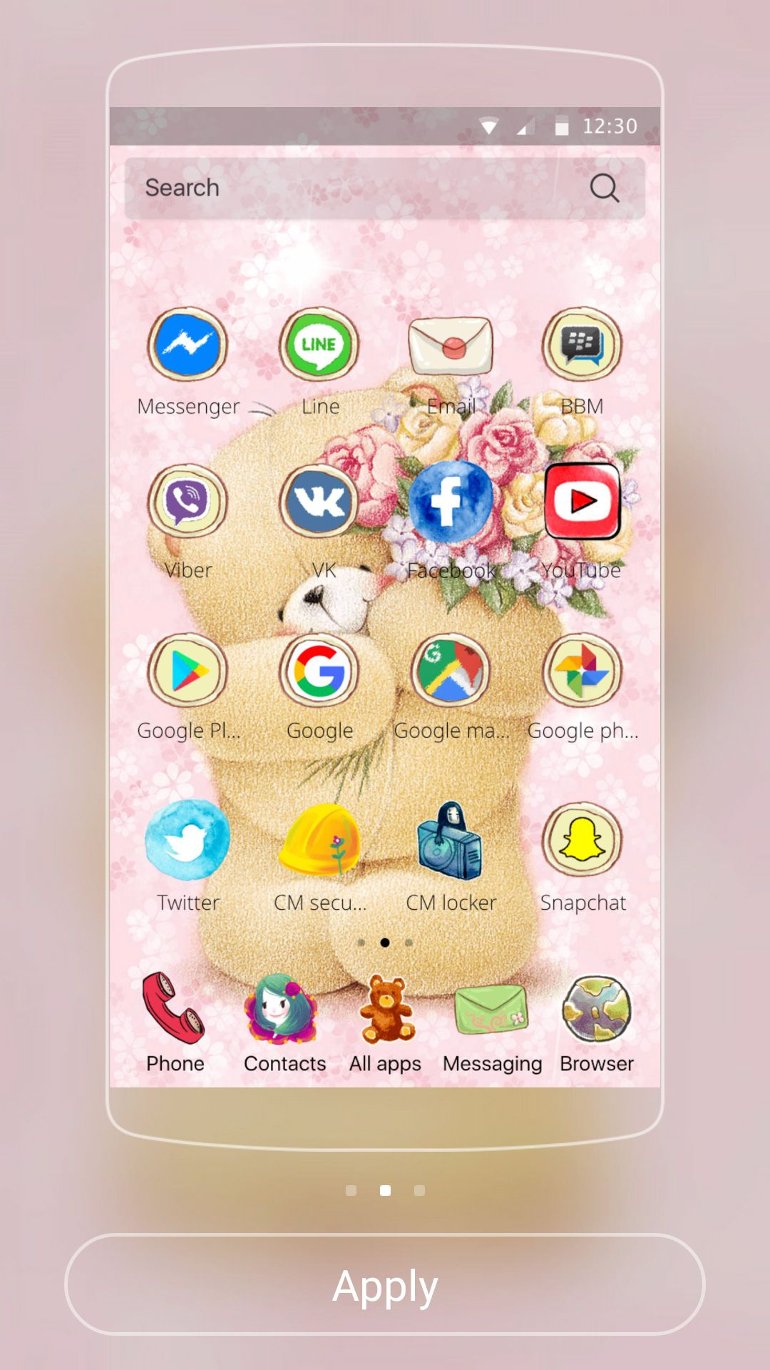 Cute Pink Teddy Android Theme