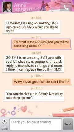 go sms valentine love theme
