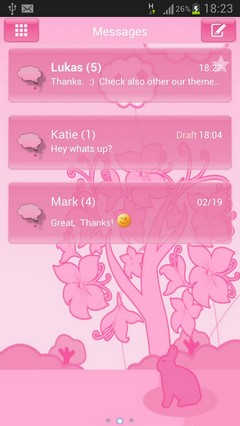 GO SMS Pro Theme Pink Animal