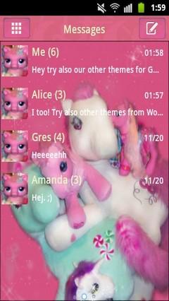 GO SMS PRO Theme Pink Pony