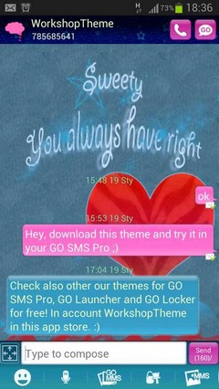 GO SMS Theme Red Heart