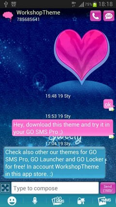 GO SMS Pro Theme Pink Blue