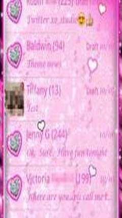 GO SMS Pro Pink Heart Theme