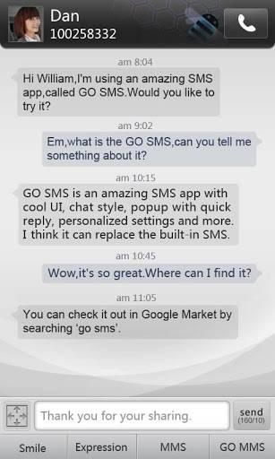 GO SMS Simple Dark Theme