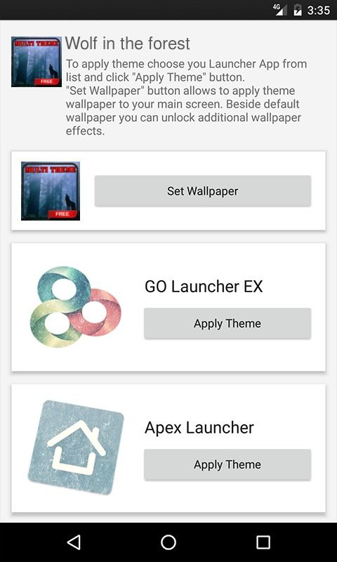 Wolf in the forest Apex Launcher Theme
