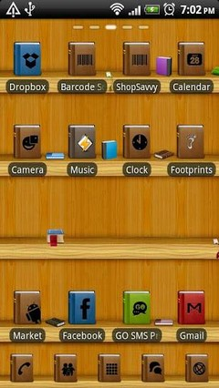 Bookshelf GO Launcher EX Theme