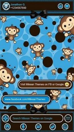 Go Sms Cute Blue Monkey Theme