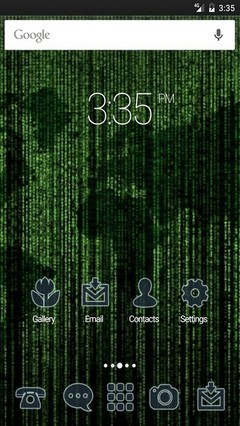 Green matrix world map GO Launcher Theme