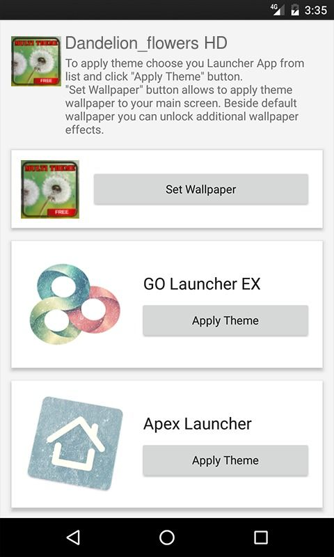 Dandelion flowers HD Apex Launcher Theme