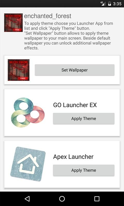 Enchanted forest ADW Launcher Theme