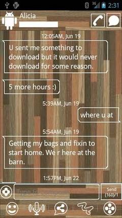 go sms woodgrain theme