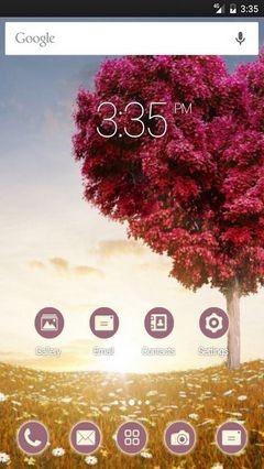 Love heart tree fields Apex Launcher Theme