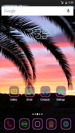 Palm tree sky sunset Nova Launcher Theme