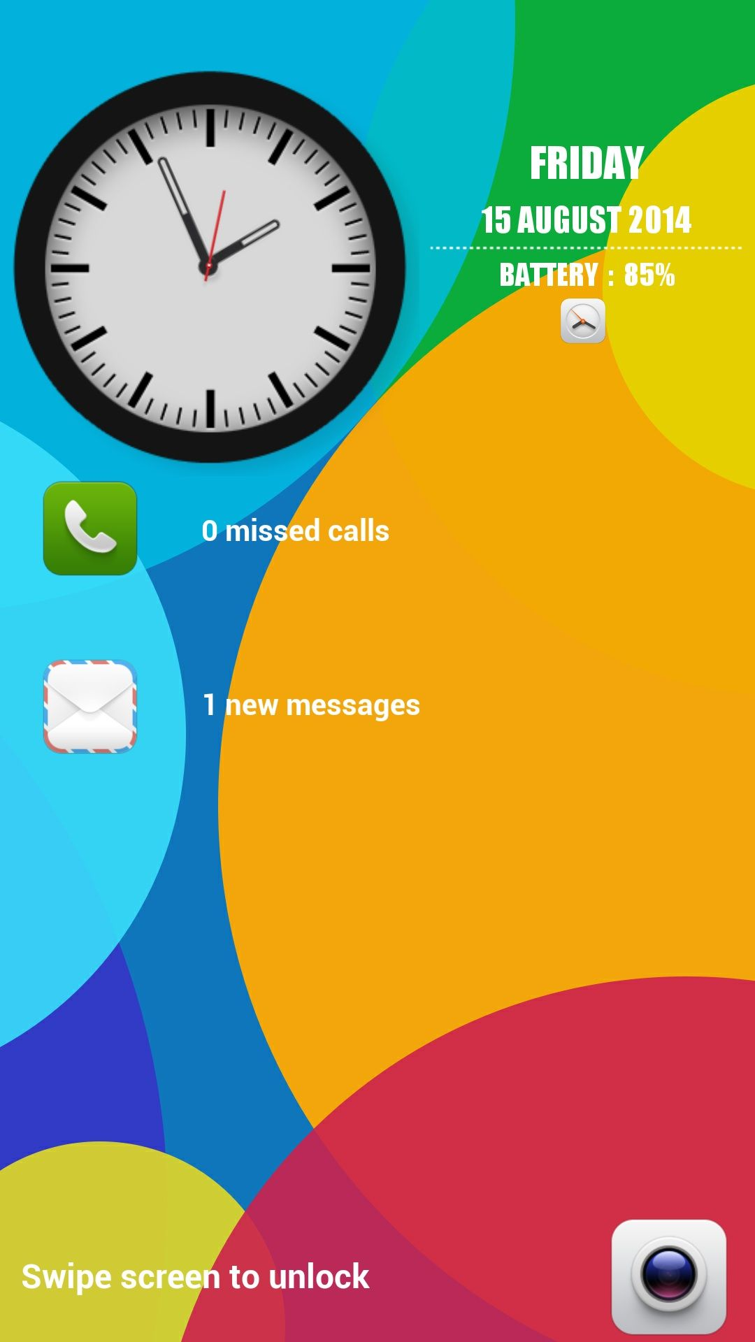 Xiaomi Swipe Clock Lock Screen